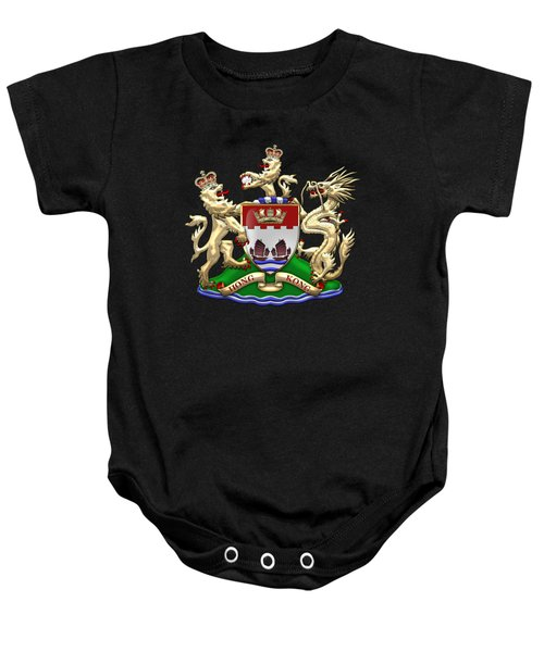 Hong Kong - 1959-1997 Coat Of Arms Over Black Leather  Baby Onesie