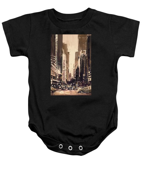 Hong-kong Cityscape Painting Baby Onesie