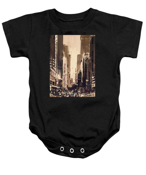 Baby Onesie featuring the painting Hong-kong Cityscape Painting by Tithi Luadthong