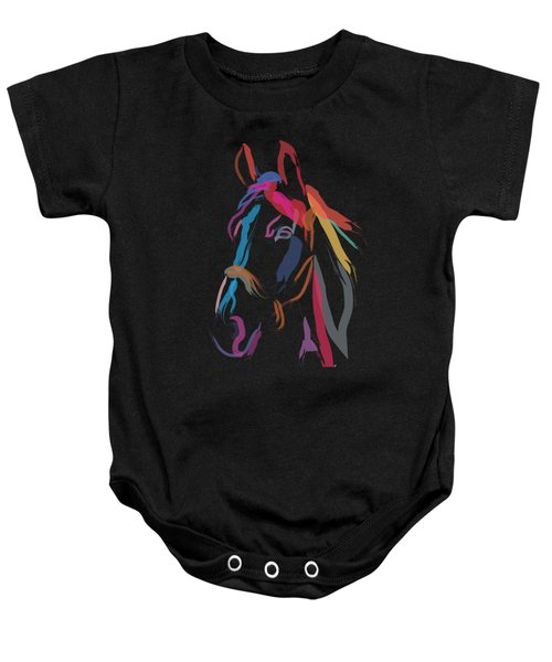 Baby Onesie featuring the painting Horse-colour Me Beautiful by Go Van Kampen