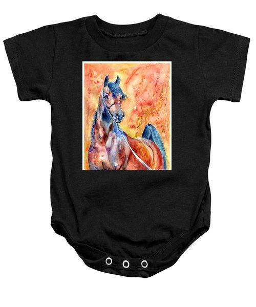 Horse On The Orange Background Baby Onesie