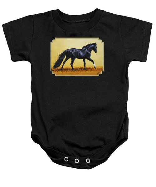 Horse Painting - Black Beauty Baby Onesie by Crista Forest