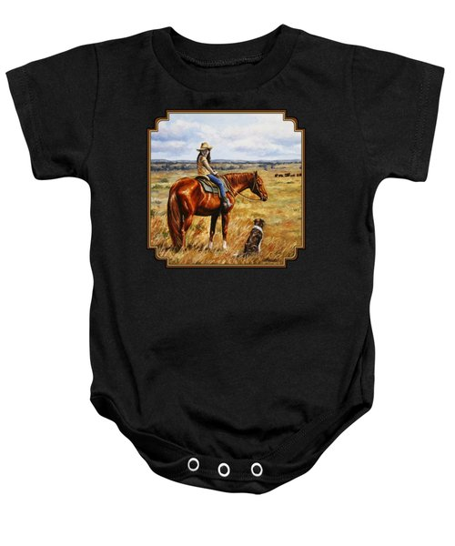 Horse Painting - Waiting For Dad Baby Onesie
