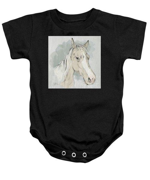 Horse Portrait-farm Animals Baby Onesie