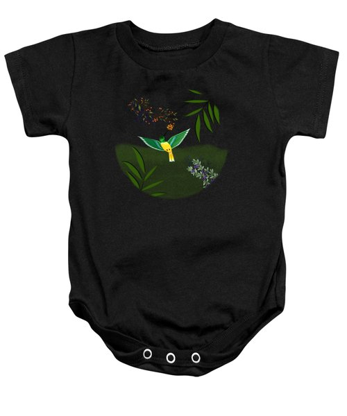 Humming Bird - Circle/clear Background Baby Onesie