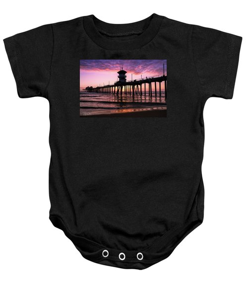 Huntington Pier At Sunset 2 Baby Onesie