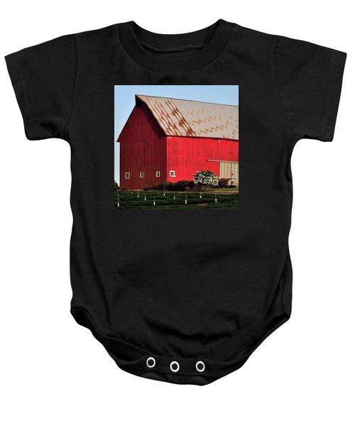 Hwy 47 Red Barn 21x21 Baby Onesie