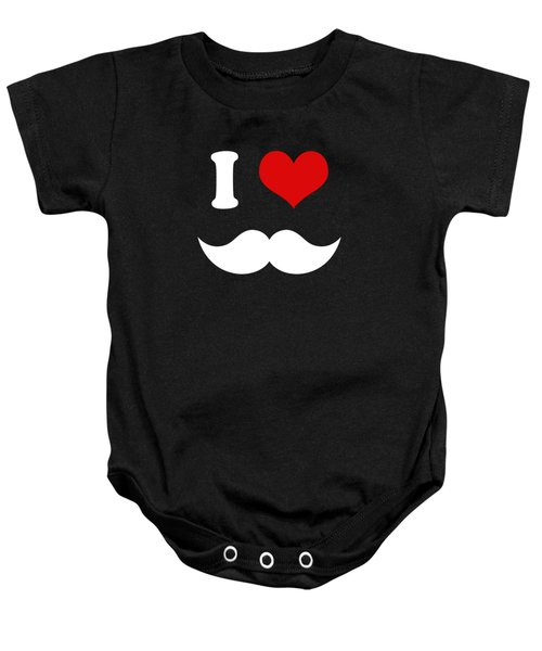 I Heart I Love White Mustaches Baby Onesie by Tigerlynx