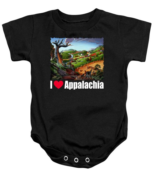 I Love Appalachia T Shirt - Autumn Rural Wheat Harvest Farm Landscape Baby Onesie