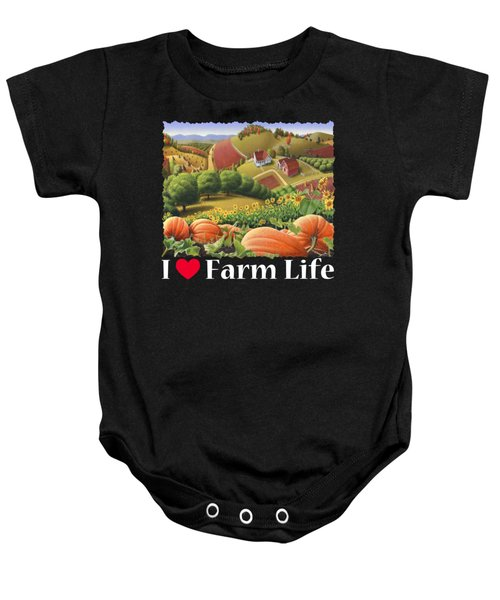 I Love Farm Life T Shirt - Appalachian Pumpkin Patch - Rural Farm Landscape 2 Baby Onesie