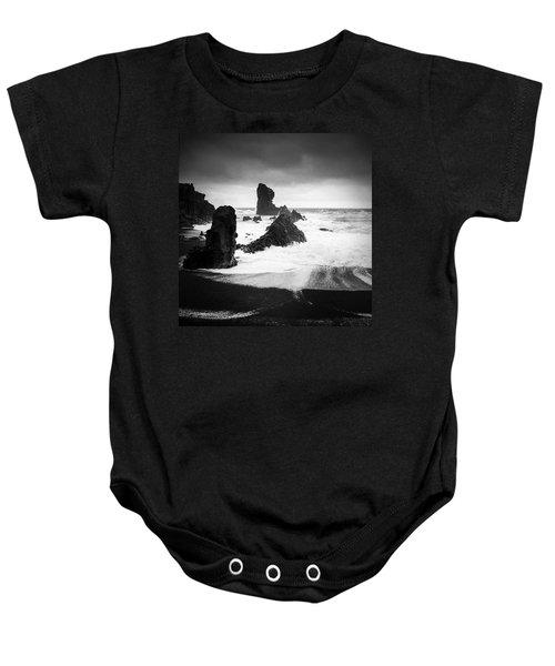 Iceland Dritvik Beach And Cliffs Dramatic Black And White Baby Onesie