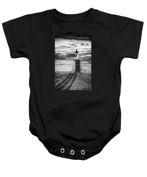 Iceland Ingjaldsholl Church And Mountains Black And White Baby Onesie
