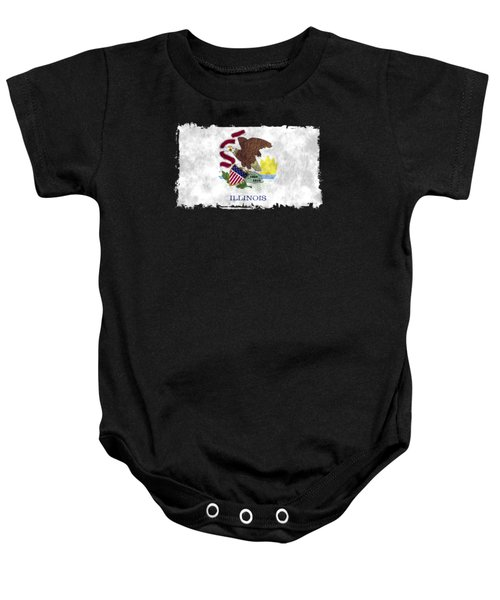 Illinois Flag Baby Onesie by World Art Prints And Designs