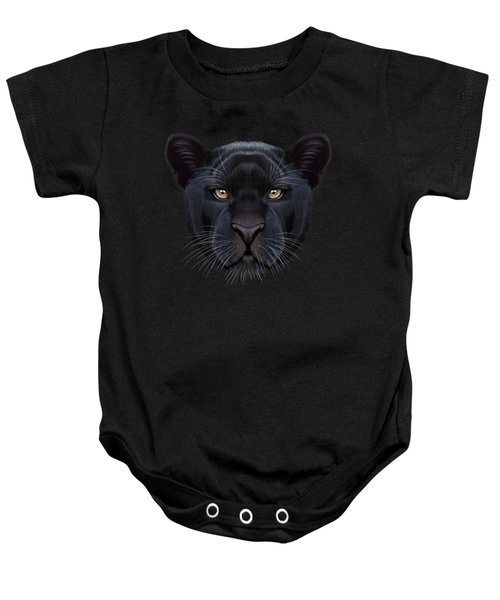 Illustrated Portrait Of Black Panther.  Baby Onesie