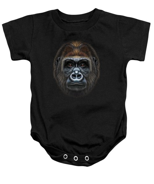 Illustrated Portrait Of Gorilla Male. Baby Onesie by Altay Savrukov