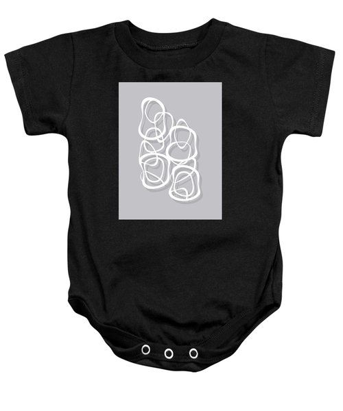 Interlocking - White On Soft Gray Owl - Pattern Baby Onesie