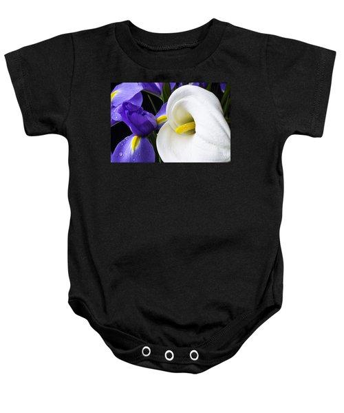 Iris And Calla Lily Baby Onesie