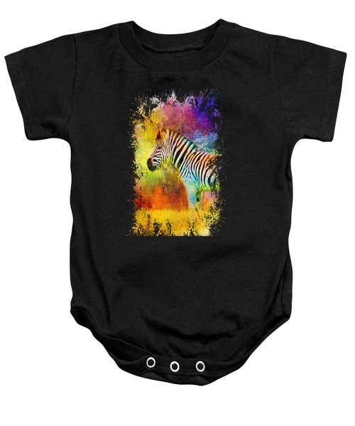 Jazzy Zebra Colorful Animal Art By Jai Johnson Baby Onesie by Jai Johnson