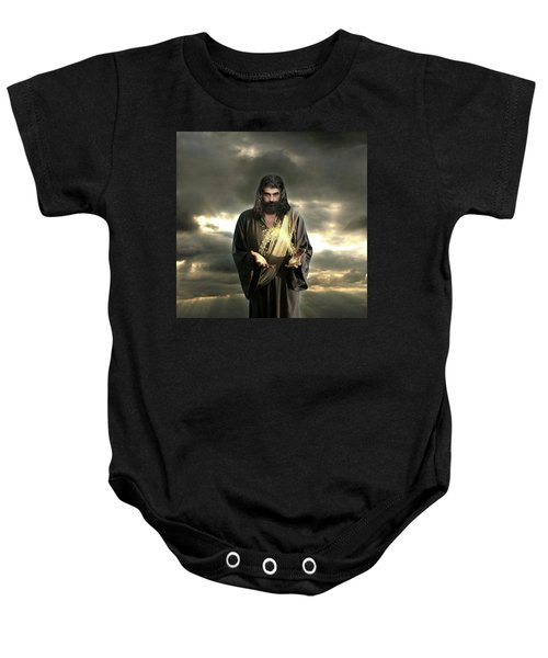 Jesus In The Clouds With Radiant Power Baby Onesie