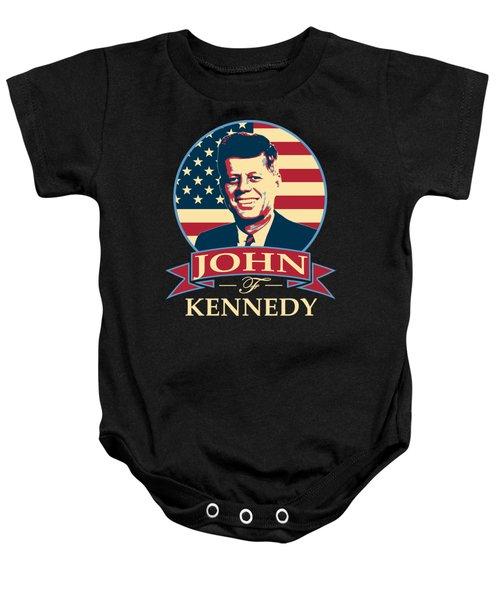 John F Kennedy American Banner Pop Art Baby Onesie