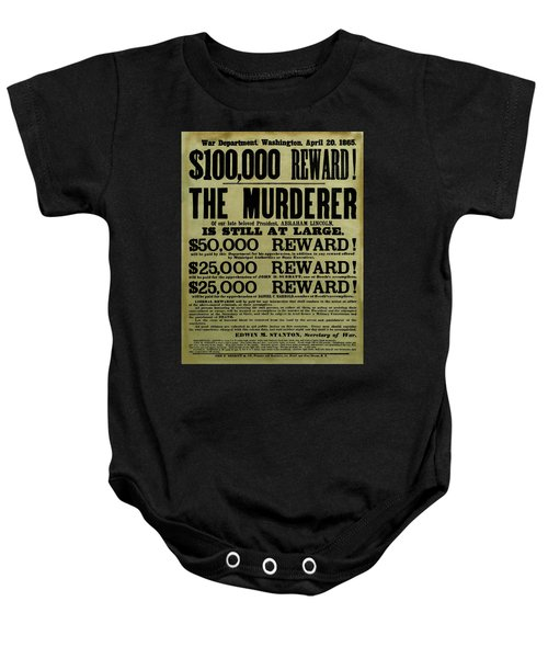 John Wilkes Booth Wanted Poster Baby Onesie
