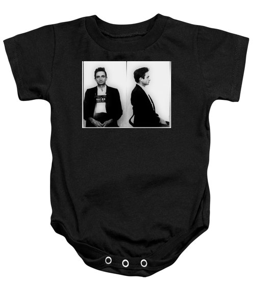 Johnny Cash Mug Shot Horizontal Baby Onesie