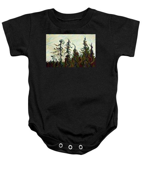 Joyful Pines, Whispering Lines Baby Onesie