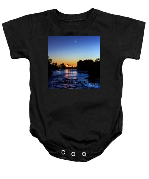 Jupiter And Venus Over The Willamette River In Eugene Oregon Baby Onesie