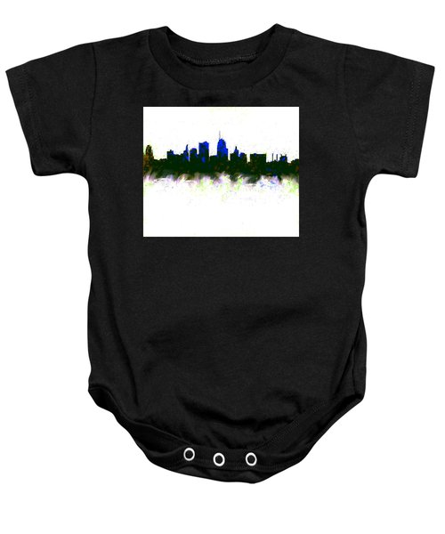 Kansas City Skyline Blue  Baby Onesie