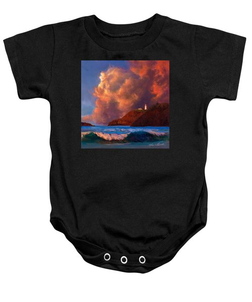 Kilauea Lighthouse - Hawaiian Cliffs Sunset Seascape And Clouds Baby Onesie