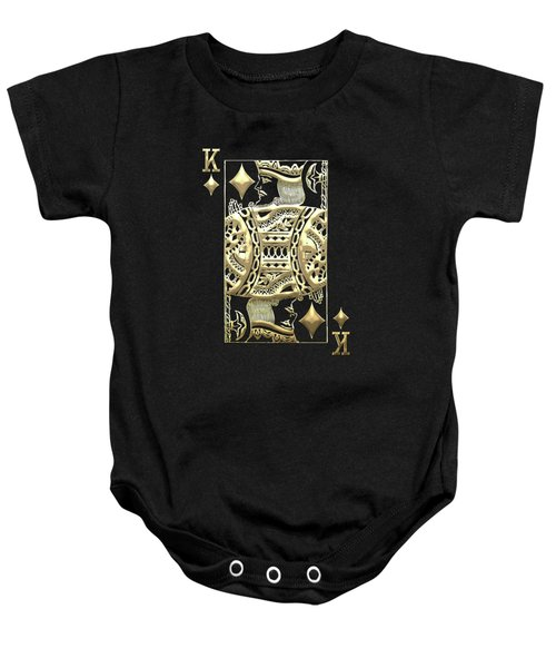 King Of Diamonds In Gold On Black  Baby Onesie