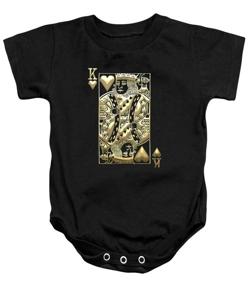 King Of Hearts In Gold On Black Baby Onesie
