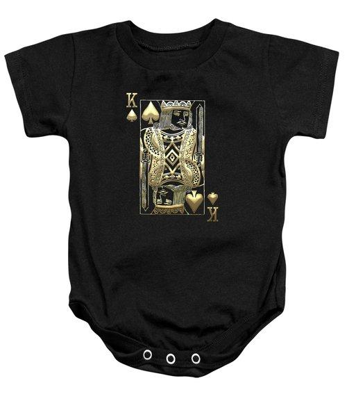 King Of Spades In Gold On Black   Baby Onesie