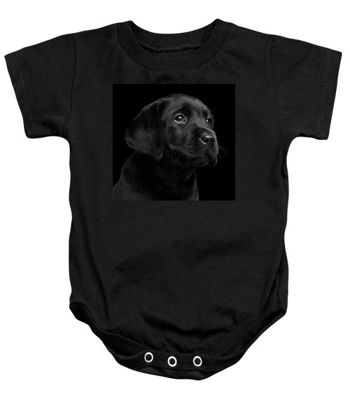 Labrador Retriever Puppy Isolated On Black Background Baby Onesie