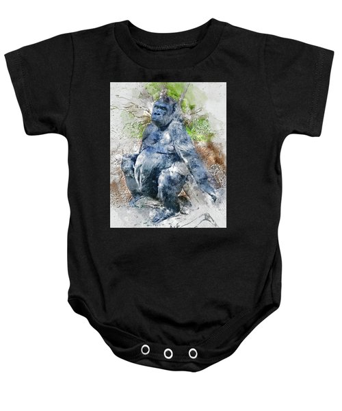 Lady Gorilla Sitting Deep In Thought Baby Onesie