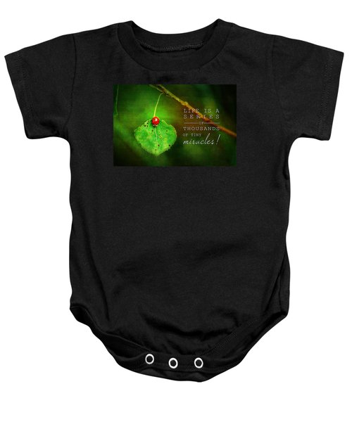Ladybug On Leaf Thousand Miracles Quote Baby Onesie