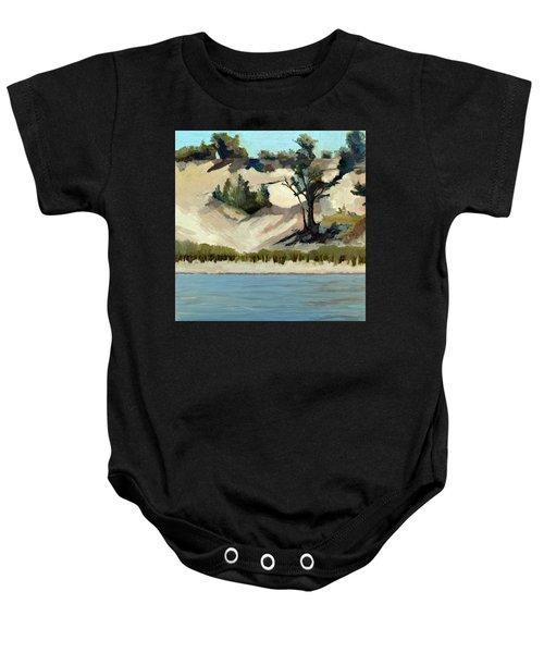 Lake Michigan Dune With Trees And Beach Grass Baby Onesie