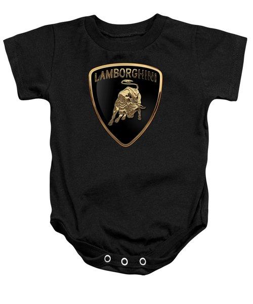 Lamborghini - 3d Badge On Black Baby Onesie