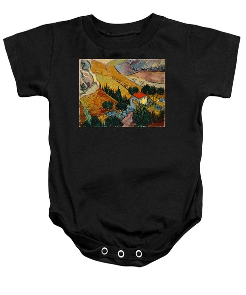 Baby Onesie featuring the painting Landscape With House And Ploughman by Van Gogh