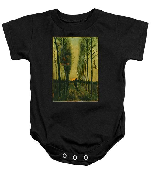 Baby Onesie featuring the painting Lane Of Poplars At Sunset by Van Gogh