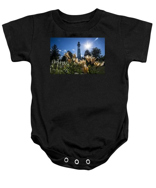 Lighthouse With A Flowery Foreground Baby Onesie