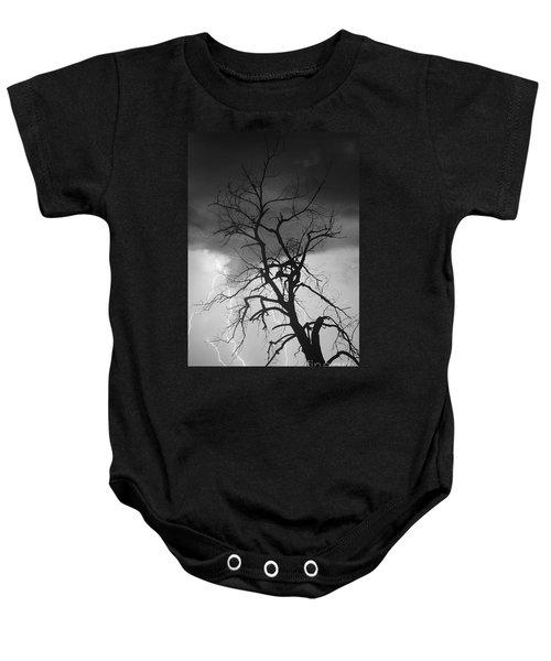 Lightning Tree Silhouette Portrait Bw Baby Onesie