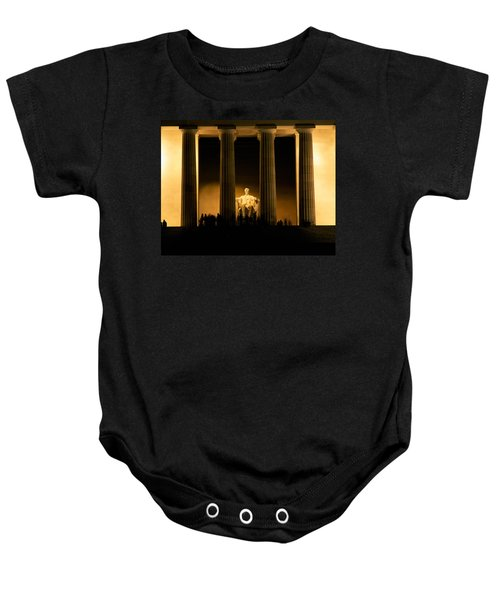 Lincoln Memorial Illuminated At Night Baby Onesie by Panoramic Images