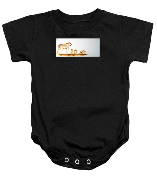 Lioness And Cubs Small - Original Artwork Baby Onesie