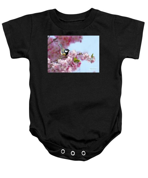 Baby Onesie featuring the mixed media Little Coal Tit by Morag Bates