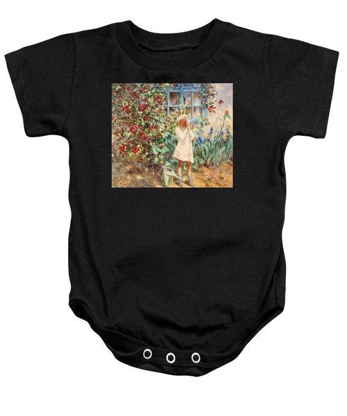 Little Girl With Roses  Baby Onesie