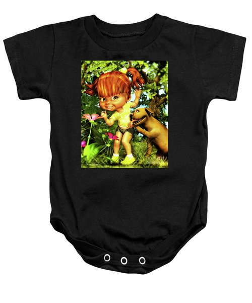 Little Redhead And Her Dog Baby Onesie