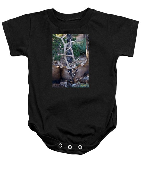 Locking Horns - Well Antlers Baby Onesie by Rikk Flohr