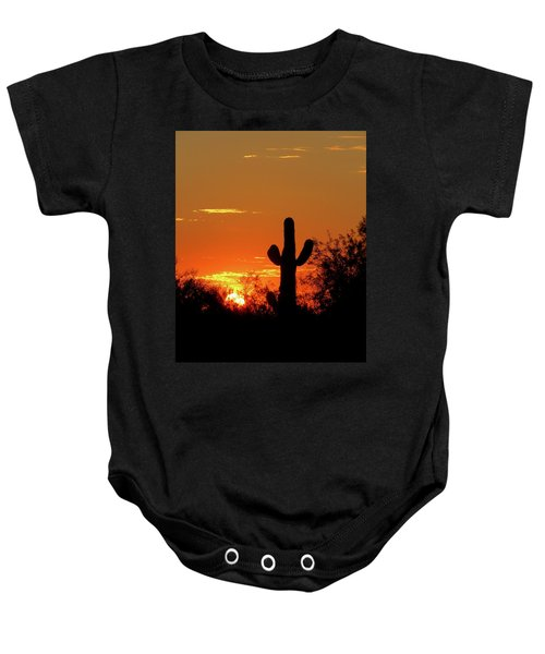 Lone Saguaro Sunrise Baby Onesie