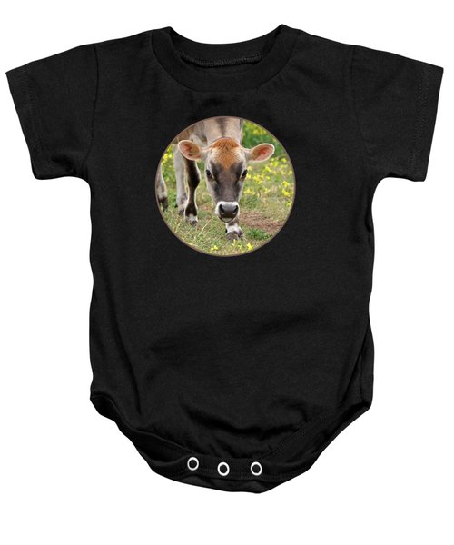 Look Into My Eyes - Jersey Cow - Square Baby Onesie